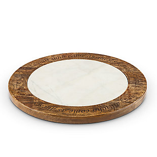 The Gerson Company 18-Inch Antiquity Collection Marble Wood and Metal Lazy Susan, , rollover