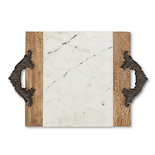 The Gerson Company Antiquity Collection Marble, Wood and Metal Medium Cutting/Serving Board, , large