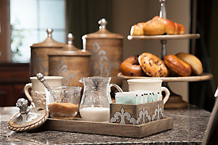 The Gerson Company Wood and Metal Inlay Heritage Collection Cream and Sugar Set, , rollover