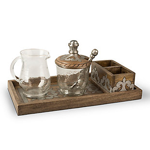 The Gerson Company Wood and Metal Inlay Heritage Collection Cream and Sugar Set, , large