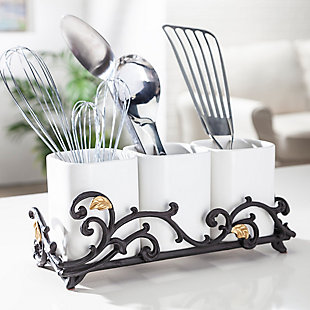 The Gerson Company Gold Leaf Ceramic 3-vase Flatware Caddy With Espresso Brown Vines And Gold Leaf Accented Base, , rollover