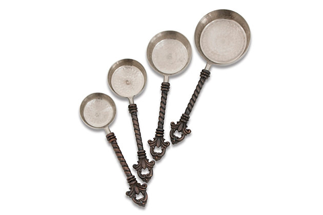 The Gerson Company Stainless Steel and Brass Fleur De Lis 4-Piece Measuring Cups, , large