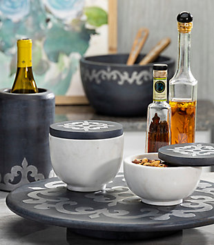 The Gerson Company Gray-Washed Metal-Inlay Lazy Susan, , rollover