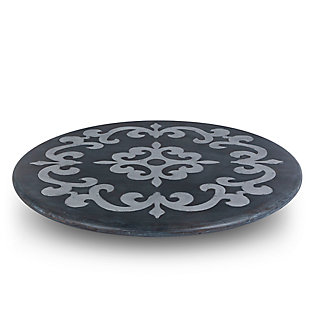 The Gerson Company Gray-Washed Metal-Inlay Lazy Susan, , large