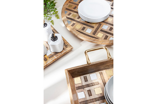 The Gerson Company Mango Wood With Laser And Metal Inlay Weave Design Tray With Gold-tone Handles, , large