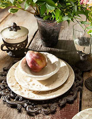 The Gerson Company Cream Ceramic 6-Inch Dessert Bowls with Acanthus Leaf Motif (Set of 4), , rollover