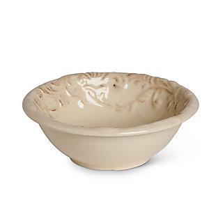 The Gerson Company Cream Ceramic 6-Inch Dessert Bowls with Acanthus Leaf Motif (Set of 4), , large