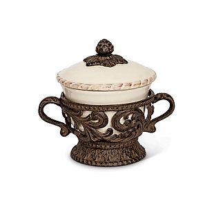 The Gerson Company Cream Ceramic Bowl and Lid with Detailed Ornate Acanthus Leaf Motif Base, , rollover