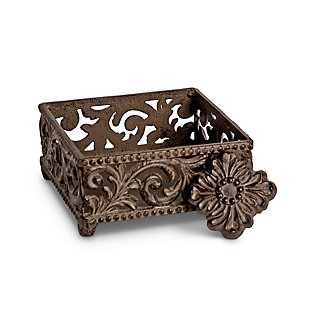 The Gerson Company Metal Cocktail Napkin Holder with Acanthus Leaf Motif, , large