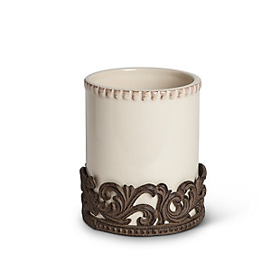 The Gerson Company Cream Ceramic Utensil Holder with Acanthus Leaf Metal Base, , rollover