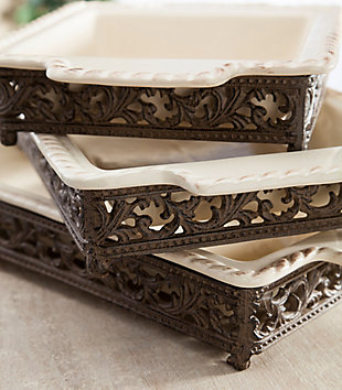 The Gerson Company Original Scrolled Acanthus Ceramic Cream Baking Dish with 16-Inch By 10-Inch Metalwork Server, , rollover