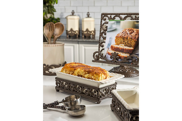 The Gerson Company Cream Stoneware Loaf Dish In Metal Acanthus Leaf Base, , large