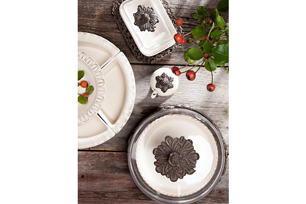 The Gerson Company Cream Ceramic Crudite Set with Acanthus Leaf Ornate Brown Metal Holder, , large