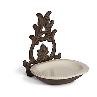 The Gerson Company Grazia Cream Ceramic Spoon Rest with Metal Holder, , large