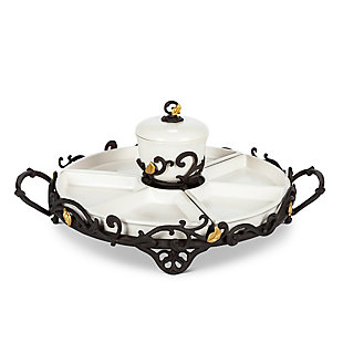 The Gerson Company Gold Leaf Ceramic Tidbit or Crudite with 6 White Stoneware Sections and Dip Bowl, Espresso Brown Vine Base with Gold Leaf Accents, , large