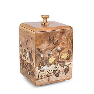 The Gerson Company Mango Wood with Laser and Metal Inlay Leaf Design Large Canister, , large
