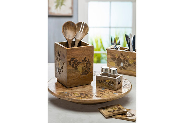The Gerson Company Mango Wood With Laser And Metal Inlay Leaf Design 6-pc Coaster Set In Wood Base, , large