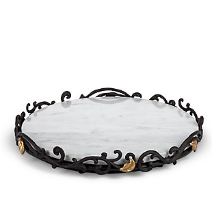 The Gerson Company White/Gray Marble Lazy Susan On Metal Gold Leaf Base, , large
