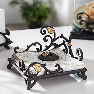 The Gerson Company Nature-inspired Gold Leaf Lunch Napkin Holder With Weight, , rollover