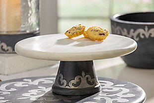 The Gerson Company White Marble Platter On Gray-Washed Metal-Inlay Pedestal, , rollover