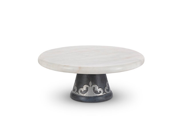 The Gerson Company White Marble Platter On Gray-washed Metal-inlay Pedestal, , large