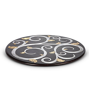 The Gerson Company 22-Inch Diameter Gold Leaf Mango Wood Inlay Lazy Susan, , large