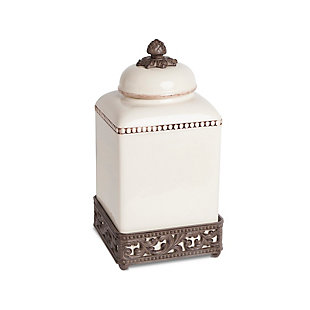 The Gerson Company 13.5-Inch Tall Cream Ceramic Canister with Acanthus Leaf Adorned Metal  Base, , rollover