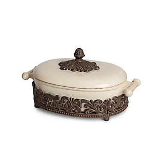 The Gerson Company Cream Ceramic Covered Casserole with Acanthus Leaf Metal Base, , large