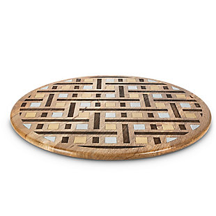 The Gerson Company Mango Wood with Laser and Metal Inlay Weave Design Lazy Susan, , large