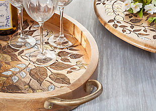 The Gerson Company Mango Wood with Laser and Metal Inlay Leaf Design Lazy Susan, , rollover