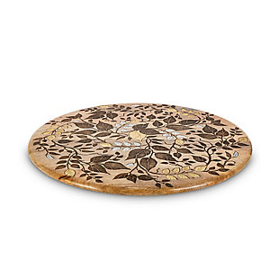 The Gerson Company Mango Wood with Laser and Metal Inlay Leaf Design Lazy Susan, , large