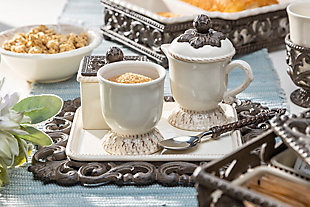 The Gerson Company Acanthus Leaf Sugar and Creamer Set with Sweetener Box On Tea Tray (Set of 4), , rollover