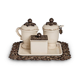 The Gerson Company Acanthus Leaf Sugar and Creamer Set with Sweetener Box On Tea Tray (Set of 4), , large