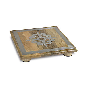 The Gerson Company 10-Inch Square Metal Inlaid-Detail Footed Wood Trivet, , large
