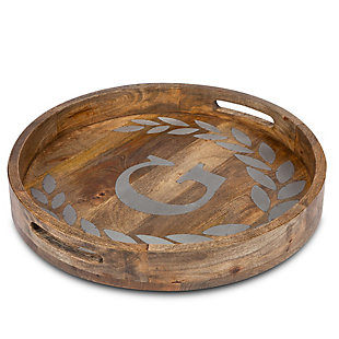 """The Gerson Company Heritage Collection Mango Wood Round Tray with Letter """"G"""", , rollover"""