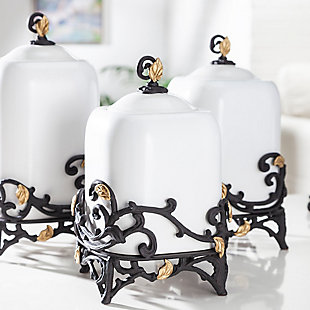 The Gerson Company 12-Inch Tall Gold Leaf Ceramic Canister with White Stoneware and Espresso Brown Vines and Gold Leaf Accented Base, , rollover