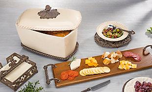 The Gerson Company Cream Stoneware Acanthus Bread Box, , rollover