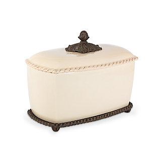 The Gerson Company Cream Stoneware Acanthus Bread Box, , large