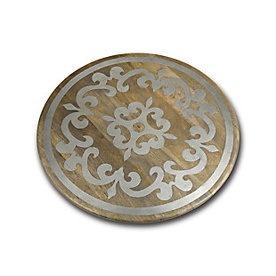 The Gerson Company 22-Inch Diameter Metal-Inlaid Wood Heritage Lazy Susan, , large