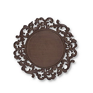 The Gerson Company 14-Inch Diameter Acanthus Leaf Ornate Brown Metal Chargers (Set of 4), , large