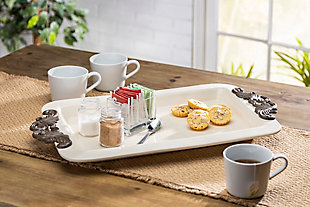 The Gerson Company 23.75-Inch Long Cream Ceramic Tray with Acanthus Leaf Styled Metal Handles, , rollover