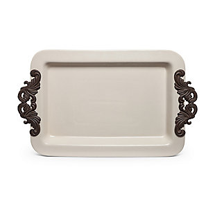 The Gerson Company 23.75-Inch Long Cream Ceramic Tray with Acanthus Leaf Styled Metal Handles, , large