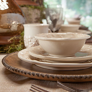 The Gerson Company 4 Cream Ceramic Salad Bowls Embossed with Acanthus Leaf Motif, , rollover