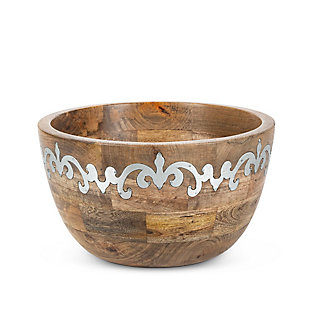 The Gerson Company Mango Wood With Metal Inlay Heritage Tall Serving Bowl, , large