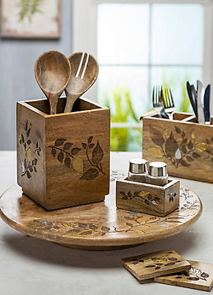 The Gerson Company Mango Wood with Metal Inlay Heritage Serving Utensils (Set of 2), , rollover