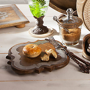 The Gerson Company 24-Inch Wood and Metal Inlay Heritage Collection Lazy Susan, , rollover