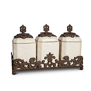 The Gerson Company Cream Ceramic 3-Piece Canisters with Provincial Metal Base, , rollover