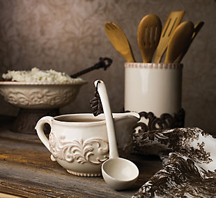 The Gerson Company Detailed Embossed Cream Ceramic 9.5-inch Dia. Bowl With Beautiful Acanthus Leaf Scrolled Metal Base, , rollover