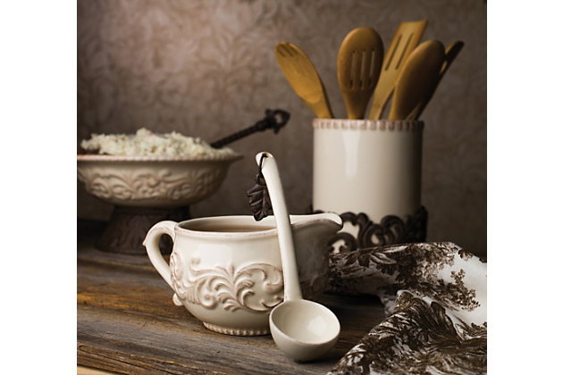 The Gerson Company Detailed Embossed Cream Ceramic 9.5-inch Dia. Bowl With Beautiful Acanthus Leaf Scrolled Metal Base, , large
