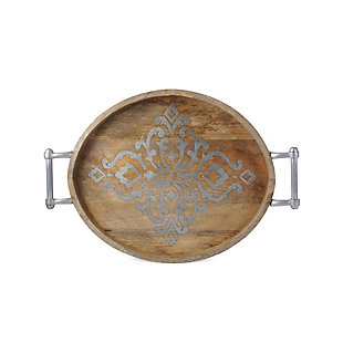 The Gerson Company Large 25.5-Inch Long Wood and Metal Heritage Collection Oval Tray, , large